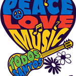 Woodstock graphic with words peace love music