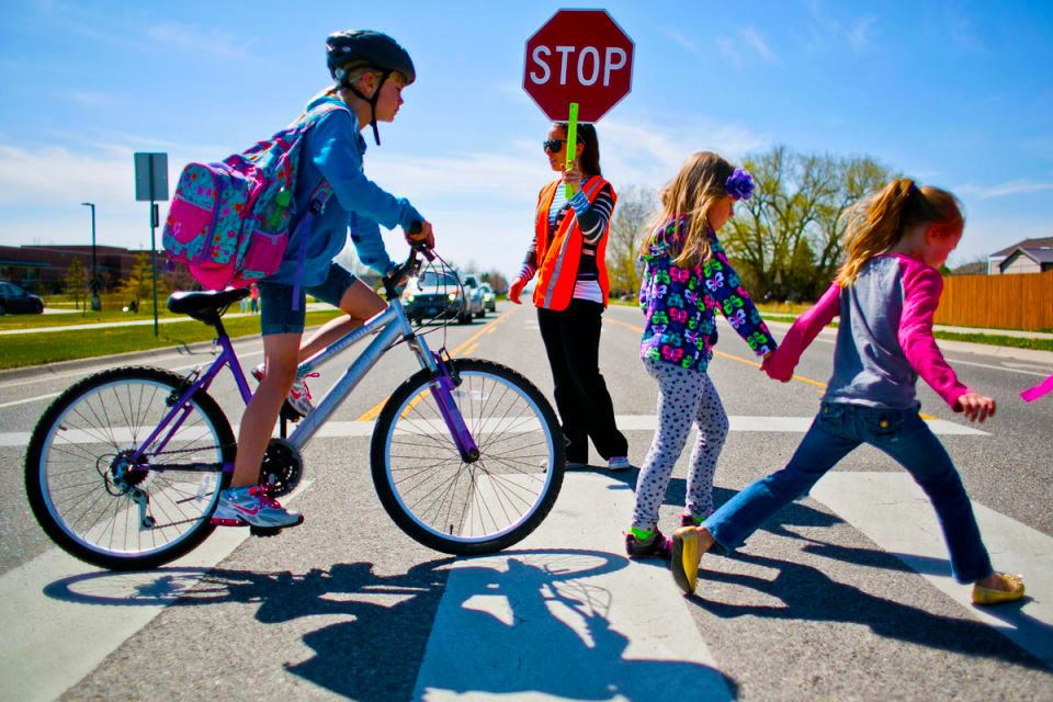crossing guard bike ped kids