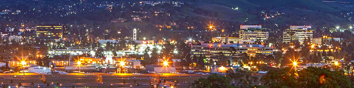 Aerial view of the City of Concord in the evening