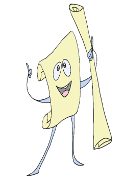 Cartoon drawing of a roll of plans named Permit Pete