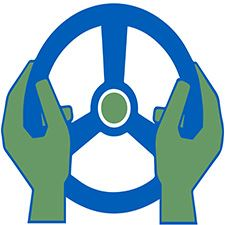 Green and Blue Steering Wheel